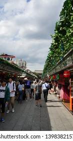 Asakusa,Taito-ku,TOKYO/Japan-Aug 08 2017:Nakamise is a shopping street from Kaminarimon at the entrance to Sensoji Temple. It is full of many tourists.