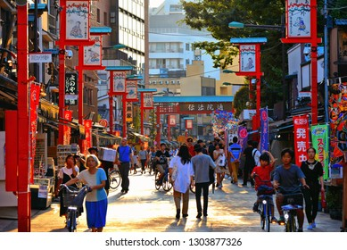 ASAKUSA,TOKYO,JAPAN 28.08.2017. city scene with Tourists enjoying at Nakamise shopping street in Asakusa connect to Sensoji Temple in Asakusa, one of the most popular places in Tokyo