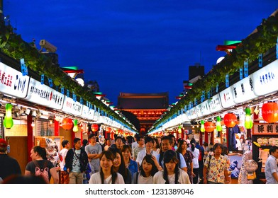 ASAKUSA,TOKYO,JAPAN 28.08.2017. Night scene with Tourists enjoying at Nakamise shopping street in Asakusa connect to Sensoji Temple in Asakusa, one of the most popular places in Tokyo