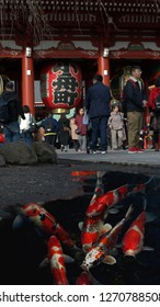 Asakusa,Tokyo/Japan - December 12th 2018. Sensoji in Asakusa, Tokyo with people around  one of the lanterns, koi carp in the reflection.