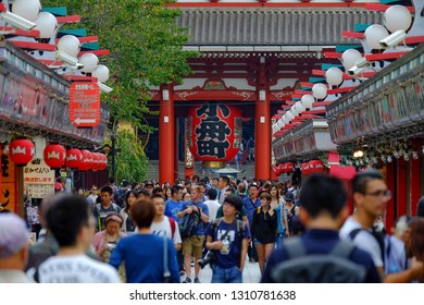ASAKUSA,TOKYO,JAPAN - October 5, 2016 : city scene with Tourists enjoying at Nakamise shopping street in Asakusa connect to Sensoji Temple in Asakusa, one of the most popular places in Tokyo
