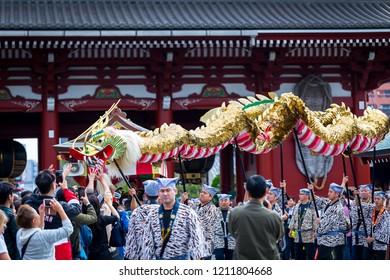 Asakushi, Tokyo / Japan - October 18, 2018: The general public Visit the market street near Senso-ji Temple in Asakusa. And to worship in the Senso-ji Temple in Asakusa, Tokyo / Japan.