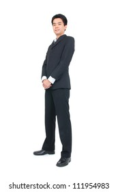 asan business man full body isolated on white