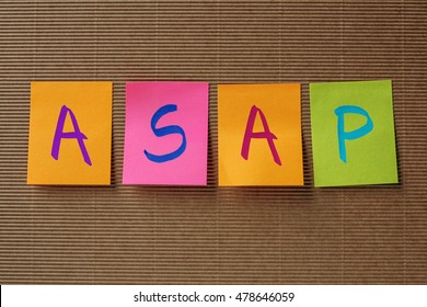 ASAP (As Soon As Possible) acronym on colorful sticky notes