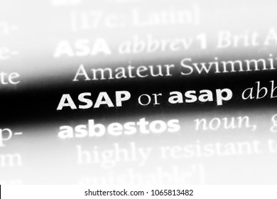 asap word in a dictionary. asap concept.