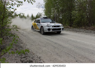"""Asbest, Russia, 22 May 2016 - Rally """"Ural Chrysotile 2016"""" 10th round of the Russian Cup, start number 8, the car Subaru Impreza WRX STI, the driver Myasnikov"""