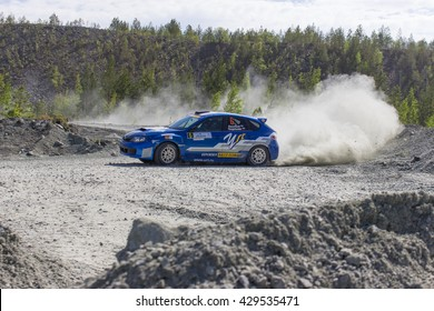 """Asbest, Russia, 22 May 2016 - Rally """"Ural Chrysotile 2016"""" 10th round of the Russian Cup, starting number 6, the car Subaru Impreza WRX STI, the driver Vasiliev"""