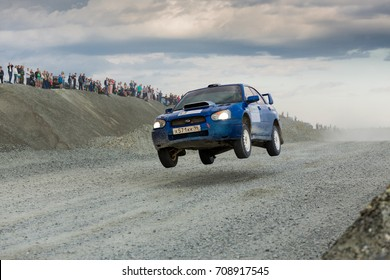 Asbest, Russia August 5, 2017 - Final 6th stage of the Russian Rally Championship 2017, Subaru Impreza WRX Sti car, Sokolov driver, starting number 8