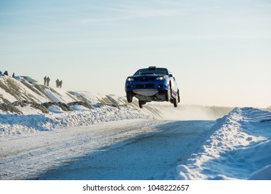 """Asbest, Russia, February 4, 2018 - 2th stage of Russian Cup 2018 rally """"Uralasbest 2018"""", Subaru Impreza WRX STI car, starting number 5, driver of Rykov"""
