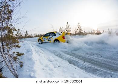 "Asbest, Russia, February 4, 2018 - 2th stage of Russian Cup 2018 rally ""Uralasbest 2018"", Subaru Impreza WRX STI car, starting number 4, driver of Myasnikov"