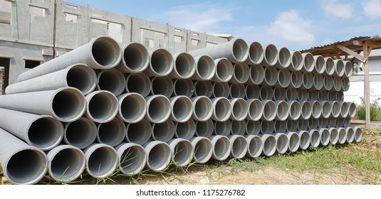 Asbestos Cement or Concrete drainage Pipes for industrial building construction.