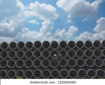Asbestos Concrete Pipe Stacked For use in construction. In the drainage or water supply section.
