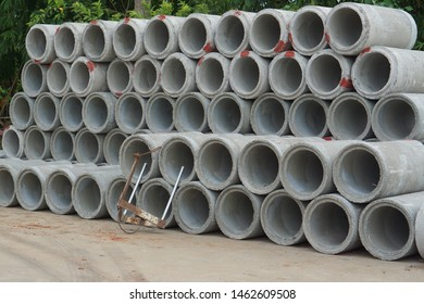 Asbestos Concrete Pipe Stacked For use in construction. In the drainage or water supply section
