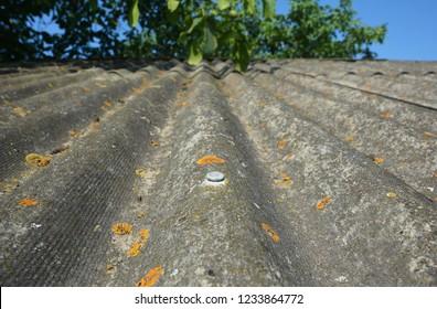 Asbestos house roof background with copy space. Old asbestos house roof.