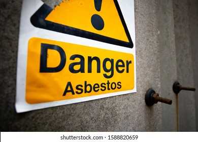 Asbestos warning sign, set of six naturally occurring silicate minerals made of microscopic fibres harmful when breathed in