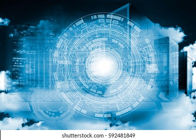 asbtract background on top of cloud and the modern metropolis. abstract technology communication concept