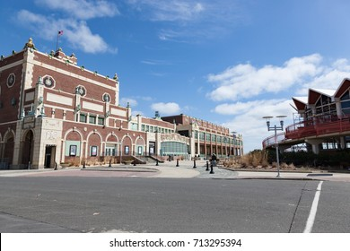 ASBURY PARK, NEW JERSEY - March, 19, 2017: A view of the exterior of the famous Convention Hall and McLoone's Supper Club