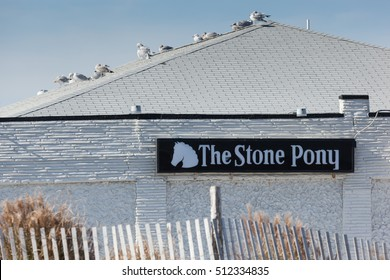 ASBURY PARK, NEW JERSEY - November 8, 2016: A view of the exterior of the famous Stone Pony on a beautiful fall day.