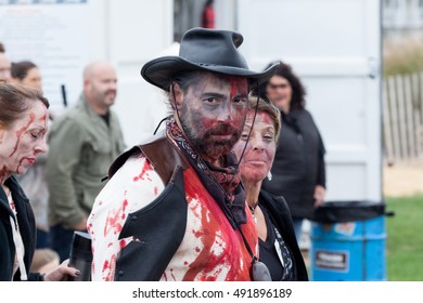 ASBURY PARK, NEW JERSEY - October 1, 2016: Zombies take over the Asbury Park Boardwalk during the 2016 New Jersey Zombie Walk