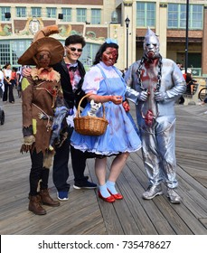 Asbury Park, New Jersey - October 7, 2017: Zombies Dorothy, the scare crow, the tin man and the wizard all attended the 10th annual Asbury Park Zombie Walk