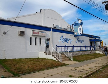ASBURY PARK, NJ - JULY 31, 2013: Asbury Lanes in Asbury Park, New Jersey on a summer afternoon, before it was closed, sold to a new owner and renovated in recent years. It is set to reopen in 2018.