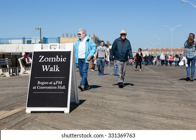 ASBURY PARK, NJ - October 10, 2015: Zombies take over the beach and boardwalk during the 2015 New Jersey Zombie Walk