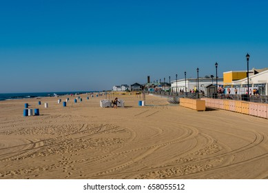 Asbury Park, NJ USA  June 11, 2017 People on the beach at Asbury Park early on a Sunday morning. Editorial Use Only.