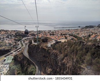 Ascending over Funchal, Madeira, in the cable car
