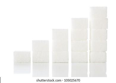 Ascending stacks of sugar cubes - high blood sugar risk concept