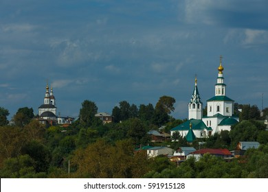 Ascension Church (left) and Galeyskaya St. Nicholas Church (right) in Vladimir, Russia.