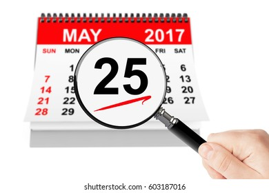 Ascension Day Concept. 25 may 2017 calendar with magnifier on a white background