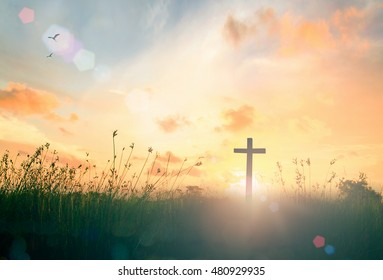 Ascension day concept: The cross on beautiful sun light with autumn sunrise meadow background