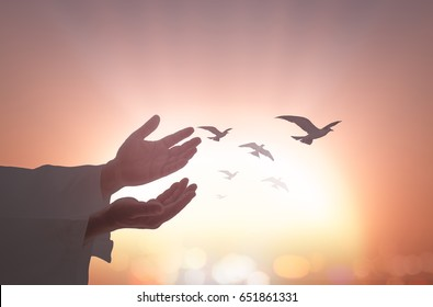 Ascension day concept: Silhouette Jesus Christ open two hands and palm up with birds flying over autumn sunrise background