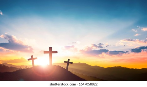 Ascension day concept:The Cross symbol of christian and Jesus Christ