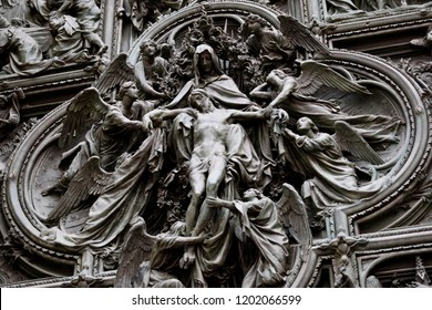 Ascension to the heaven of Jesus Christ at the door of Milan Cathedral, Italy