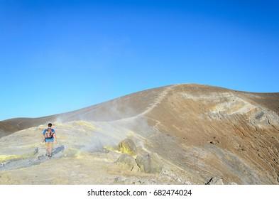 Ascent to gran cratere, vulcano islad, italy