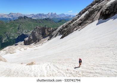 Ascent to marmolada, dolomites, Italy