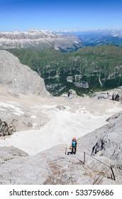 Ascent to marmolada, summer dolomites, Italy