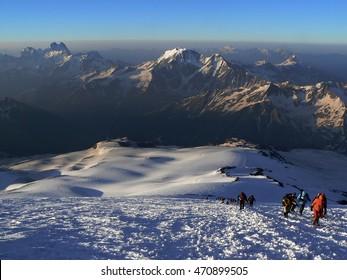ascent of Mount Elbrus in the Caucasus