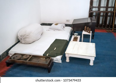 ascetic living conditions of Mahatma Gandhi in the house of the Museum where he lived the last days of his life