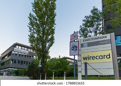 Aschheim, Germany - August 1, 2020: The steel-glass-building of the Wirecard AG with logo, after the insolvency