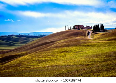 Asciano (SI), Italy -December 09, 2017: Typical scenary of Crete Senesi, Asciano, Siena, Tuscany, Italy