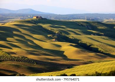 Asciano (SI), Italy - June 01, 2016: Typical scenary of Crete Senesi, Asciano, Siena, Tuscany, Italy