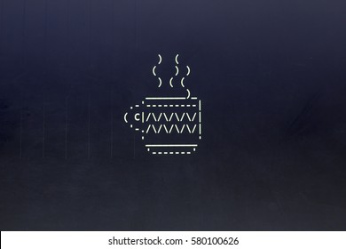 ASCII art of drink cup. Coffee or tea cup in typed symbols. Modern developer break concept.