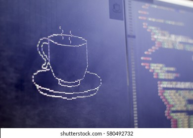 ASCII art of drink cup and HTML code aside. Coffee or tea cup in typed symbols. Modern developer break concept.