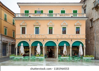 Ascoli Piceno, Italy - August 26, 2018: Very old bar in central Ascoli Piceno