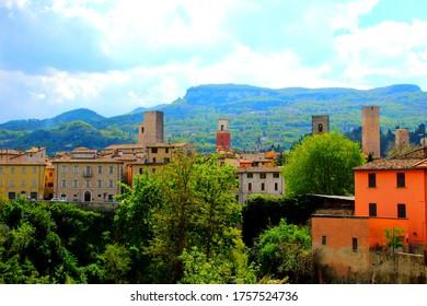 ASCOLI PICENO, ITALY - CIRCA APRIL 2019: Street view in Ascoli Piceno. Two natural parks border the town, Parco Nazionale dei Monti Sibillini and Parco Nazionale dei Monti della Laga
