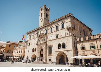Ascoli Piceno, Marche, Italy - June 03, 2017: Palazzo dei Capitani del Popolo, Piazza del Popolo -  one of the best known historical buildings in Ascoli Piceno.