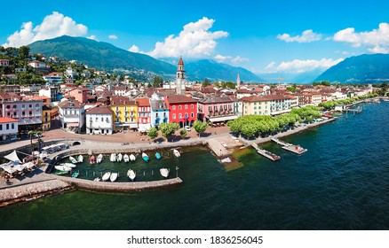 Ascona aerial panoramic view. Ascona is a town located near Locarno on the shore of Lake Maggiore in the Ticino canton in Switzerland.