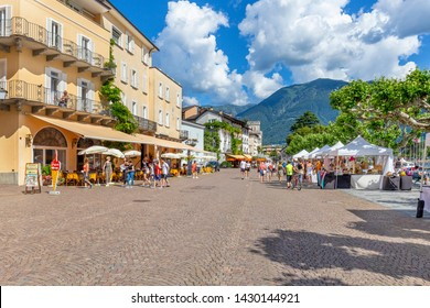 Ascona, Canton Ticino, Switzerland, 09 June 2018. View of Ascona city center, in canton Ticino district , Switzerland